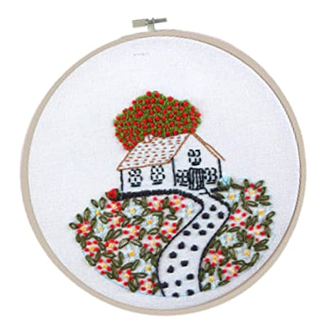 Cross Stitch Embroidery for Beginner Home Flower Leaves Kit with Hoop Fabric