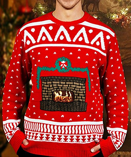 Digital Dudz Crackling Fireplace Digital Christmas Sweater - size (Digital Dudz Costumes)