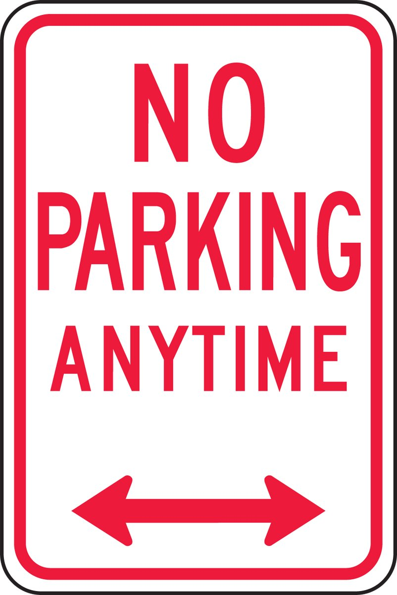Accuform Signs FRP717RA Engineer-Grade Reflective Aluminum Parking Sign, Legend''NO Parking Anytime (Double Arrow)'', 18'' Length x 12'' Width x 0.080'' Thickness, Red on White by Accuform Signs