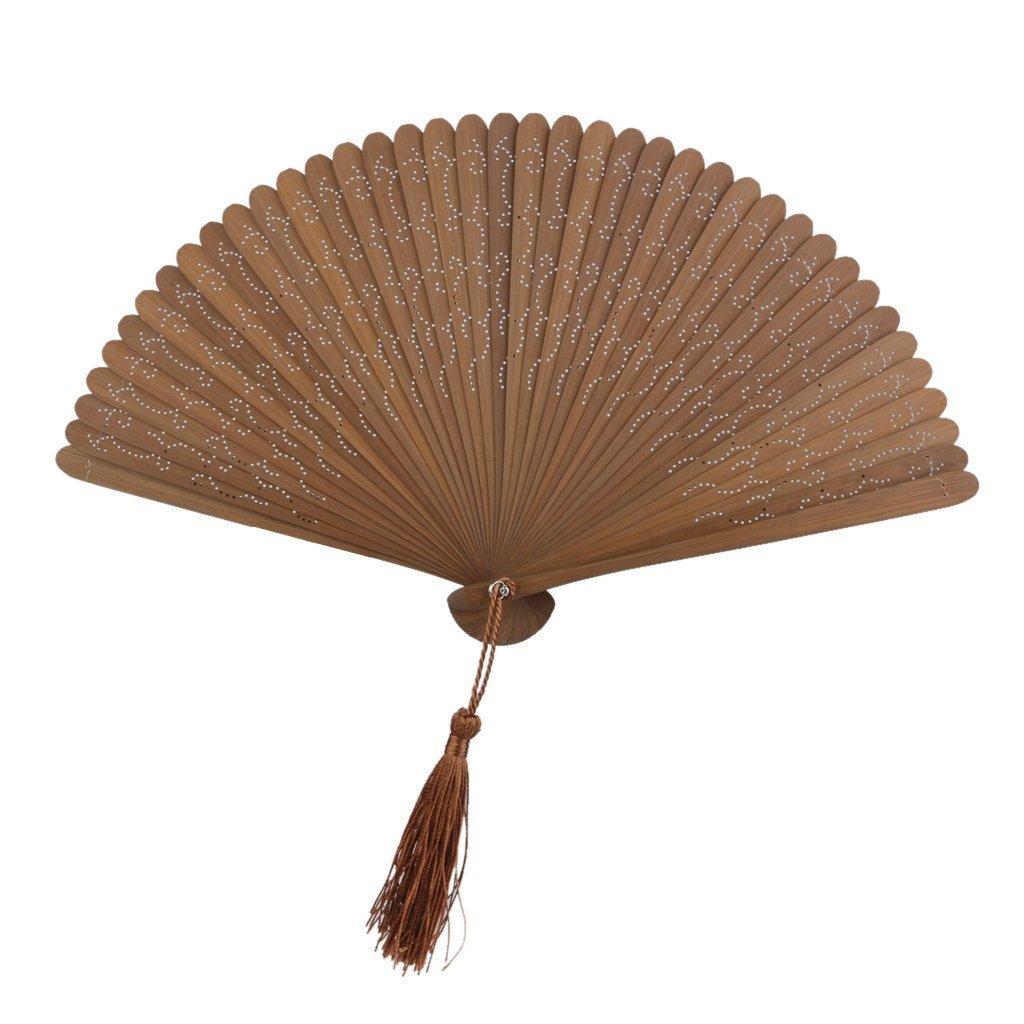 B_Mayshow Eleganti donne di alta qualità con ventole pieghevoli in seta con cornice in bambù (Fan di bambù)