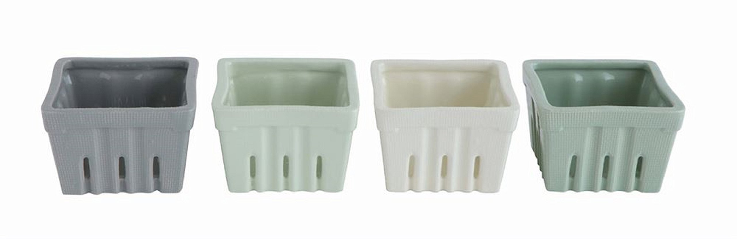 Creative Co-Op 4'' Square Stoneware Berry Bowl, 4 Colors