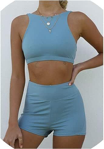 Women Summer Set Suit Top Pants Outfit Workout Tracksuit 2