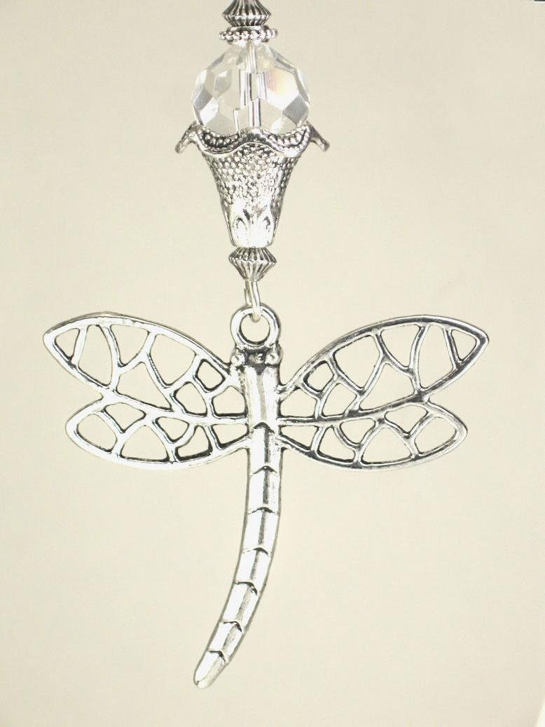 Silvery Dragonfly & Crystal Clear Faceted Glass Ceiling Fan Pull Chain