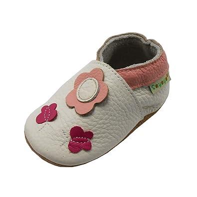Chaussons ENFANT Cuir Souple 0-6 mois fleur noir FmBXR