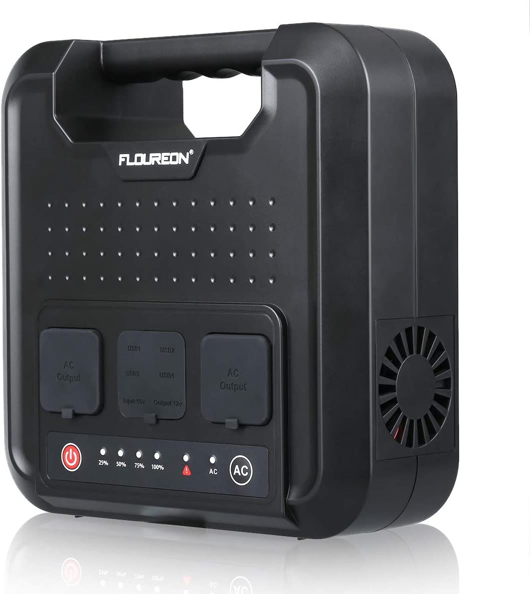floureon 220Wh Portable Power Generator Power Station Home Solar Generator Lithium Battery Backup Power Supply with 120V 300W 2 AC Outlets 4 USB Ports for Outdoors Camping Fishing Emergency