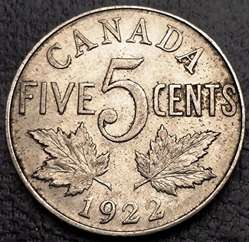 Unbranded 1922 Canada 5 Cents Nickel COINGREAT Condition FAR 2 Variety