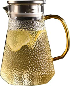 Glass pitcher Cold Water Bottle Household Heat-Resistant Explosion-Proof Water Cooler Teapot Tie Pot Capacity 1200ml,Clear-10.2922cm