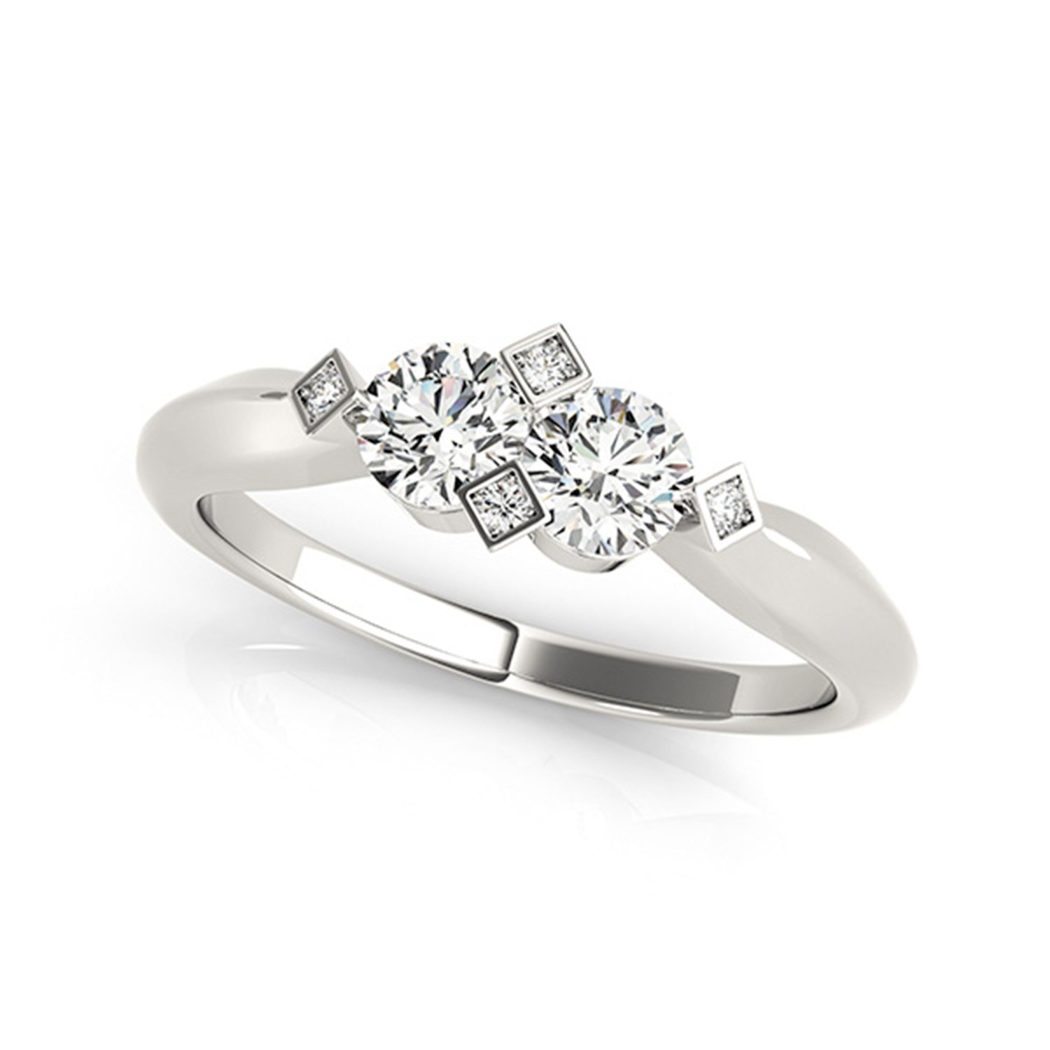 14k White Gold Round-cut Two-stone Diamond Ring (1/4 cttw, J-K, SI1-SI2)
