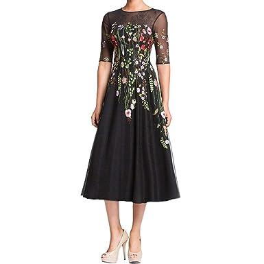 26bfcb2f052b Elinadrs Women s Half Sleeves Floral Print Tulle Formal Evening Dress  A-Line Tea Length Mother