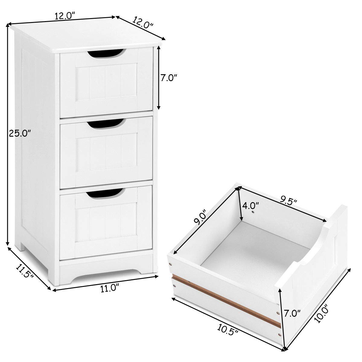 Tangkula Floor Cabinet with 3 Drawers Wooden Storage Cabinet for Home Office Living Room Bathroom Side Table Sturdy Modern Drawer Cabinet Organizer Bedroom Night Stand, White(3 Drawers) by TANGKULA (Image #3)
