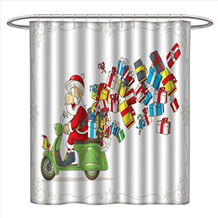 Jinguizi Santa Shower Curtains Sets Bathroom Jolly Fun Delivery With Speeding Claus On A Scooter