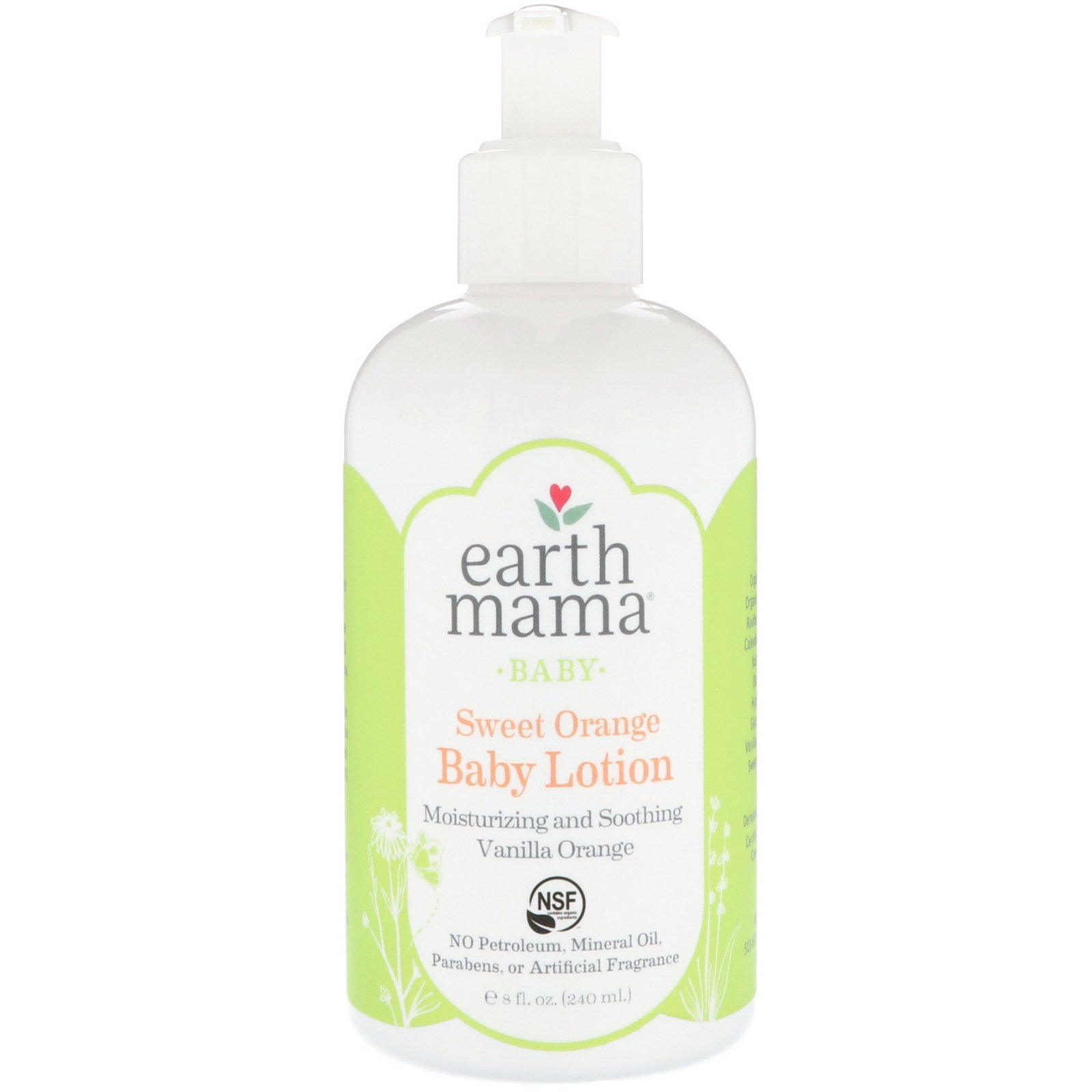 Earth Mama Baby Lotion, Sweet Orange, 8 Fluid Ounce (Pack of 3)