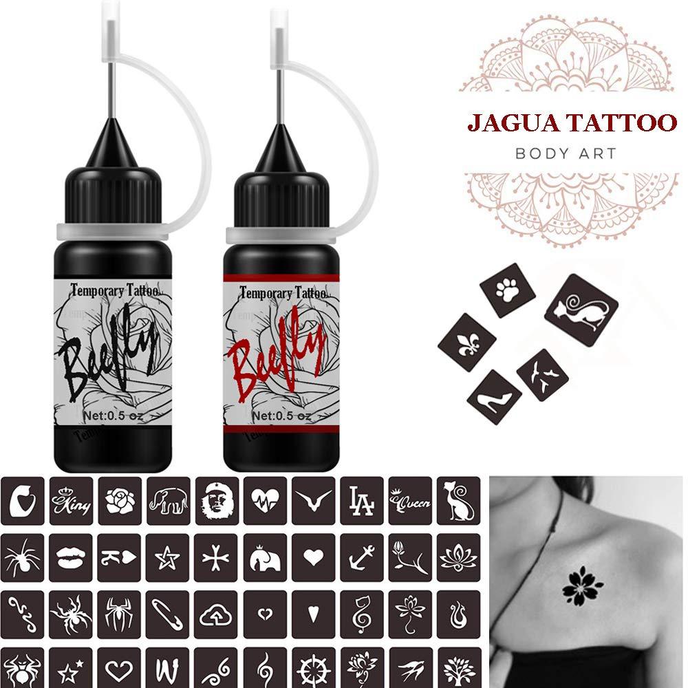 Jagua Temporary Tattoos Kit, Semi Permanent FreehandInk/Paste, DIY Tattoos Tempfor Kids Women Adults(Organic Jagua Tattoo)24 Pcs Free Adhesive Stencils, For DIY Tattoo Fake Freckle,Full Kit 2 Color