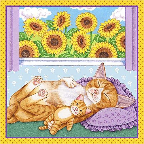 Sunflowers Kitten by Tomoyo Pitcher Laminated Art Print, 24 x 24 inches (Pitchers Kitten)