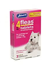 Johnsons 4 Fleas Tablets for Small Dogs & Puppies x 3 Tablets 30g - Bulk Deal of 6x