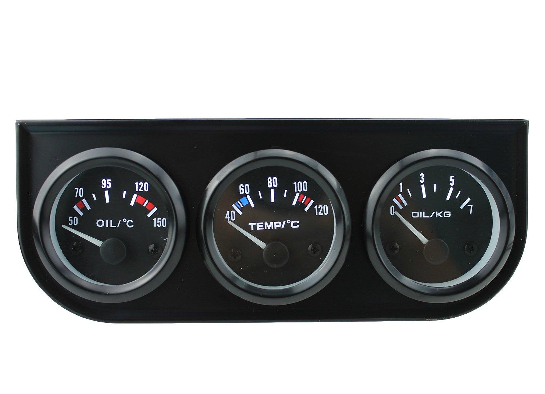 Docooler Digital Oil Temp Temperature Meter Gauge with Sensor for Auto Car 52mm 2in LCD 0~150 Celsius Degree Warning Light Black