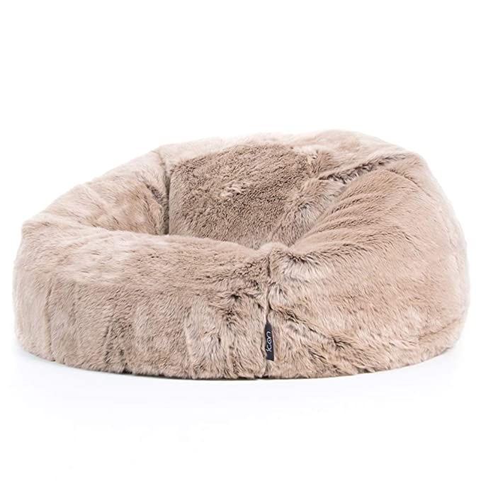 8073dc8a08a6 icon Faux Fur Bean Bag Chair - Light Mink Brown - Extra Large