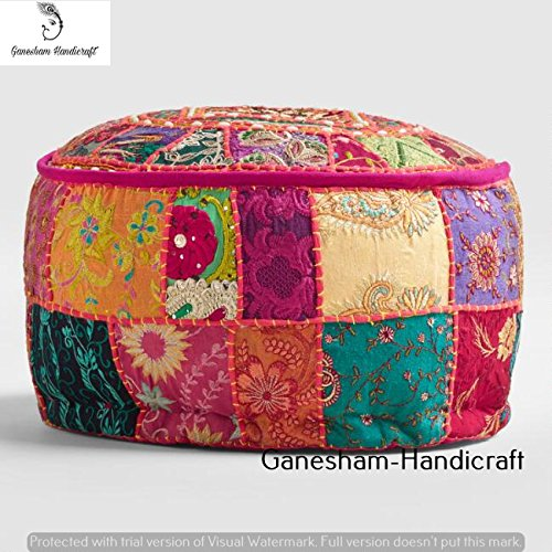 GANESHAM Indian Patchwork Pouf Cover Indian Living Room Home Decor Pouf, Decorative Ottoman, Hand Embroidered Designer Ottoman, Home Living Footstool Chair Cover, Bohemian Pouf Ottoman