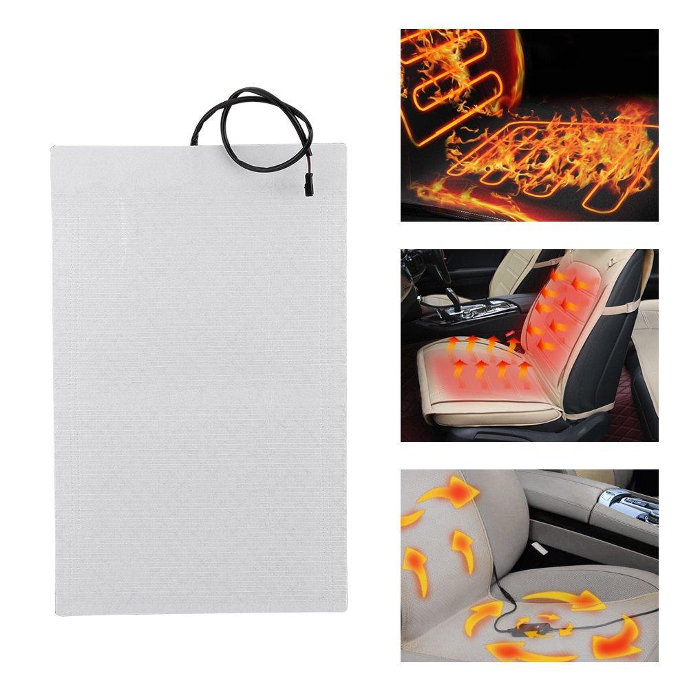 1 Set Sedile riscaldato per auto 2 pezzi Kit di pastiglie riscaldanti per auto riscaldate in fibra di carbonio universale con interruttore rotondo