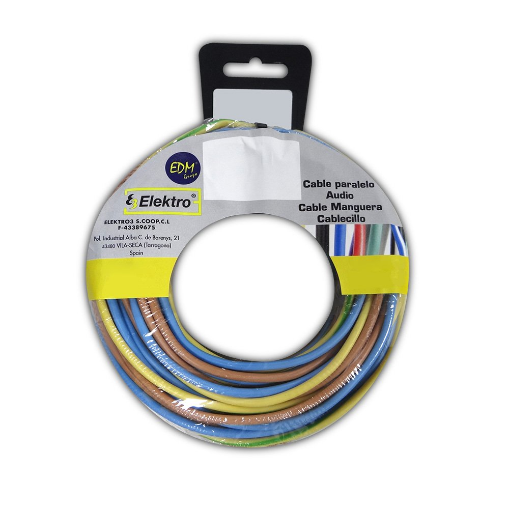 CARRETE CABLECILLO 2, 5MM 3 CABLES (AZ-M-T) 10M XCOLOR 30M EDM