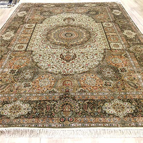 Yuchen 10'x14' Green Large Silk Qum Rug Hand Knotted Vintage Persian Rug for Living Room