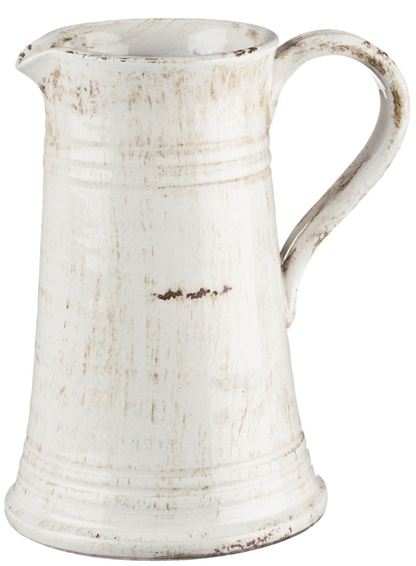 Sullivans Antique White Ceramic Pitcher, Waterproof, 8 x 10 Inches (CM2364) by Sullivans
