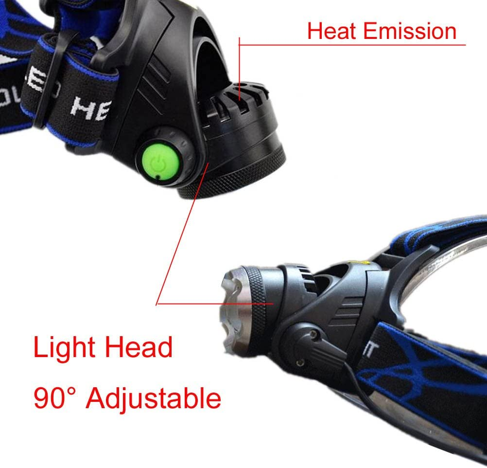 luz superbrillante Led Cree XML T6 de alta potencia led de carga bater/ías recargables y cargador. Head Torch 1T con zoom Linterna frontal led