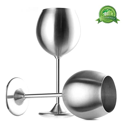 087463b9dbe Stainless Steel Stemmed Wine Glasses, Set of 2, 12 Oz Elegant Wine Glasses  Made of Dishwasher Safe Unbreakable BPA Free Shatterproof SS Great for ...