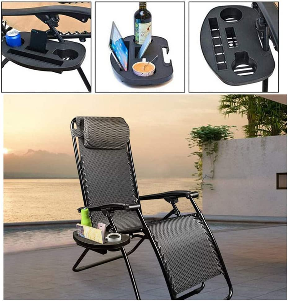 Snack Tray Universal Zero Gravity Chair Tray and Water Cups Tray Large Zero Gravity Cup Holder 1 Big Clip for Zero Gravity Lounge Chairs with Mobile Device Slot