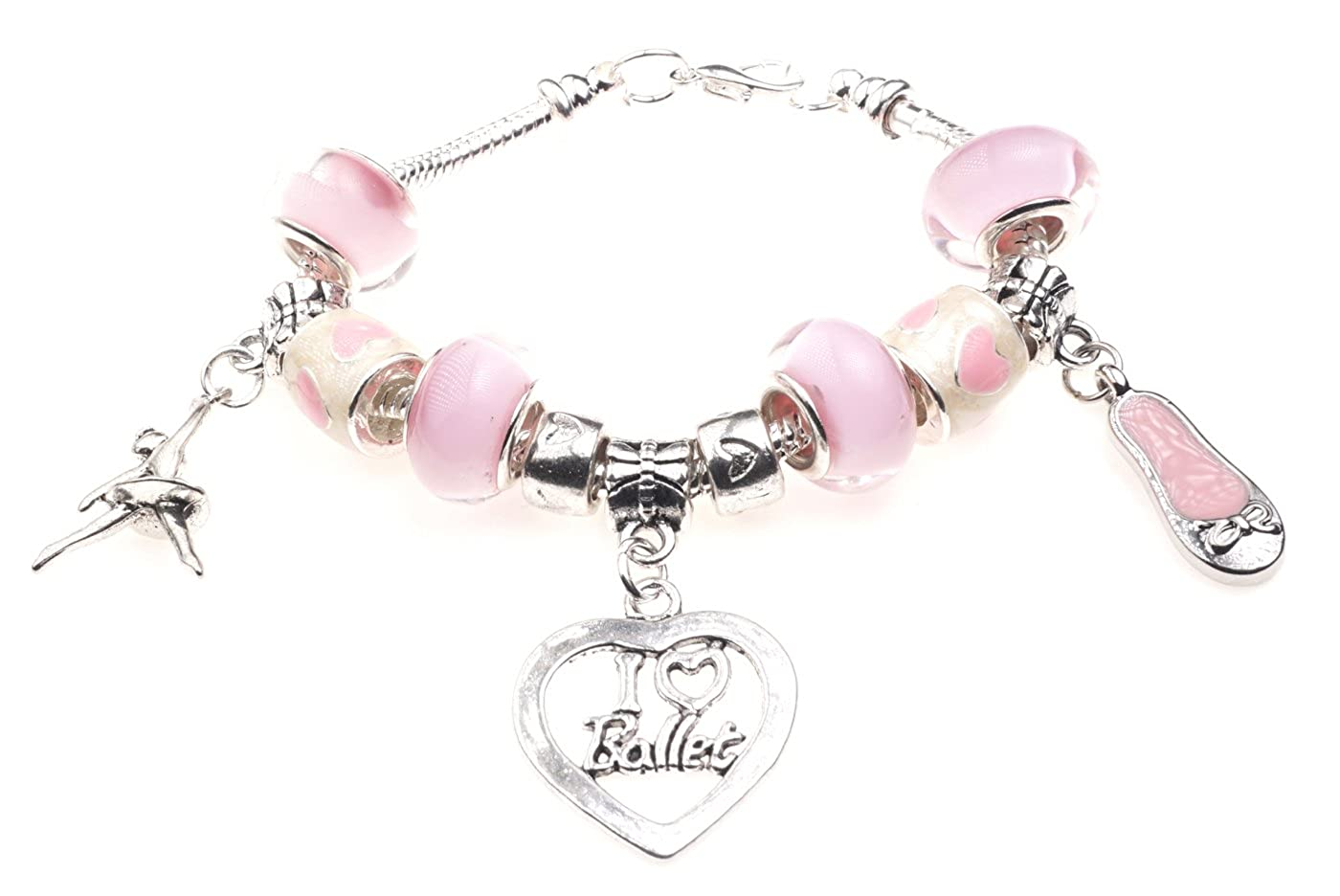 'I Love Ballet' Dancing Themed Childrens Charm Bracelet with Gift Box Girls Jewellery Jewellery Hut BRkidsILBallet