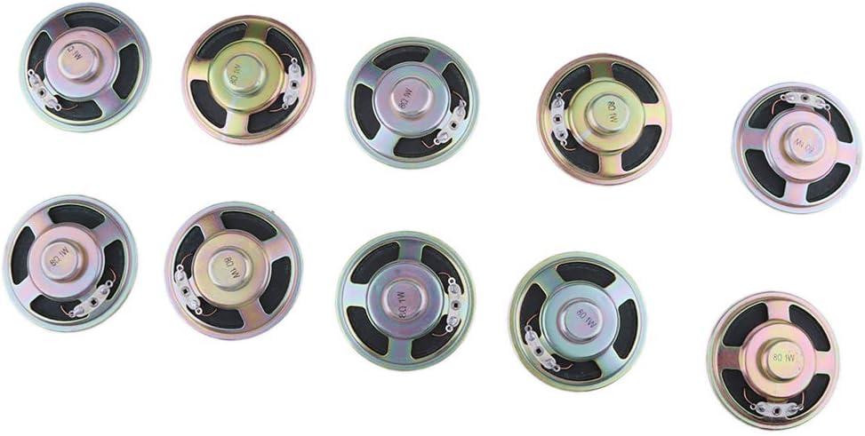 10x 1W Negro Altavoz Bluetooth Equipo de Altavoces de Reparación, Adecuado para Coche DVD, 57x57x13mm