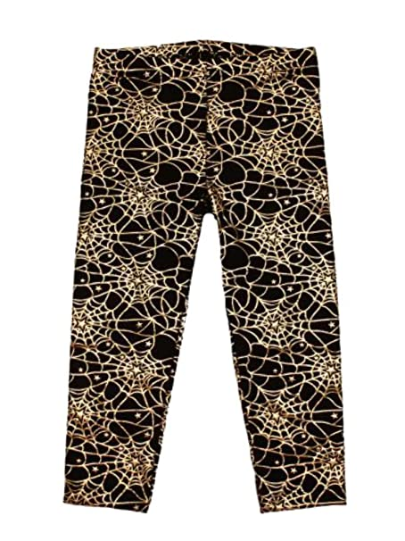pumpkin infant toddler girls black spider web stretch pants halloween leggings 18m