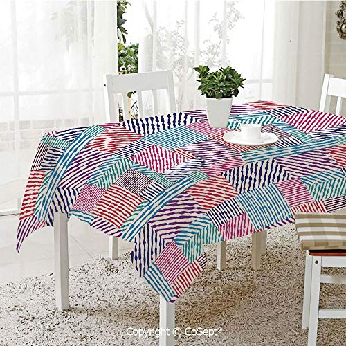 SCOXIXI Rectangle Tablecloth,Colorful Wavy Lines in Parallel Horizontal and Vertical Symmetric Stripes Design,Great for Table,Parties,Holiday Dinner(60.23