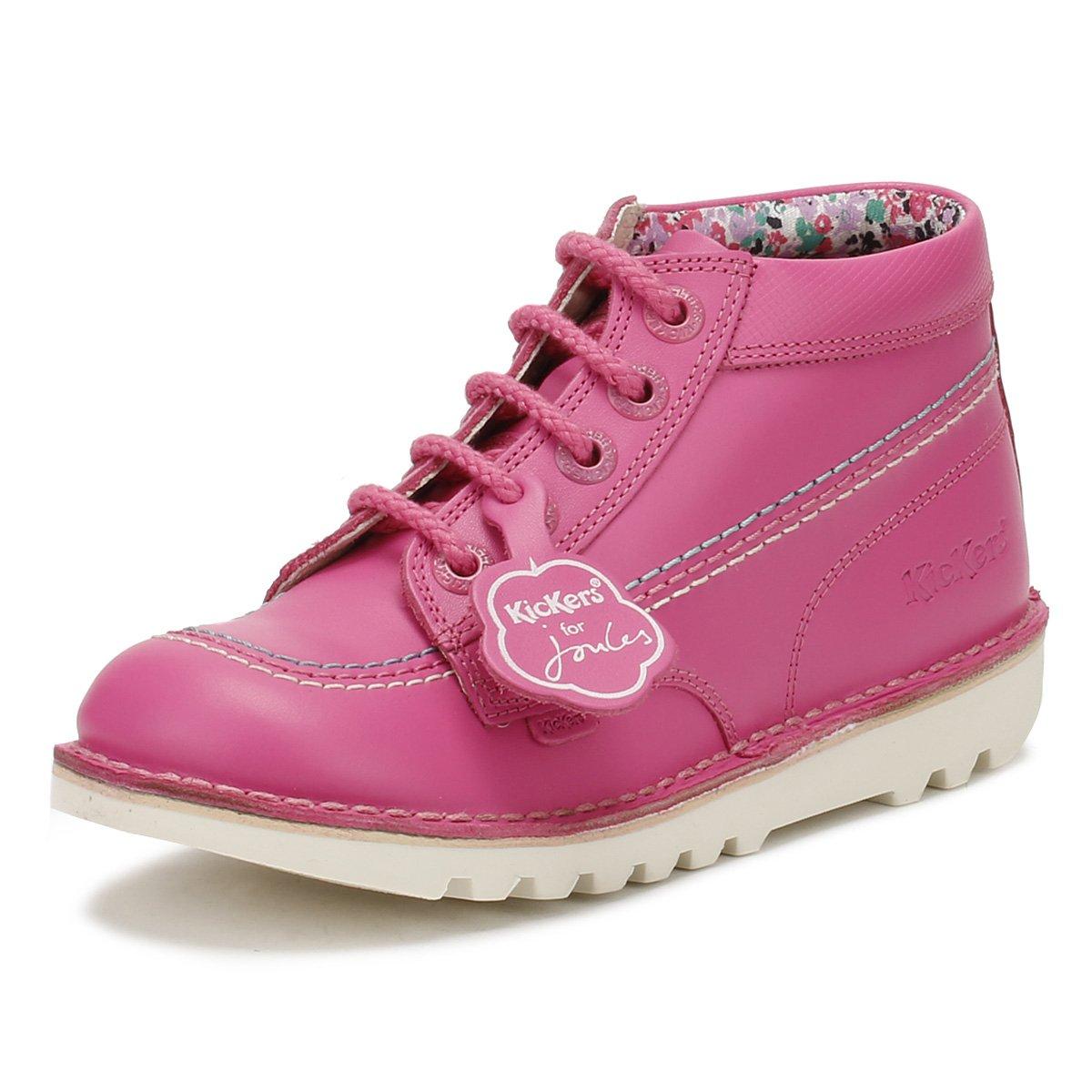 Kickers Joules Junior Pink Leather Kick Hi Boots-UK 13 Kids