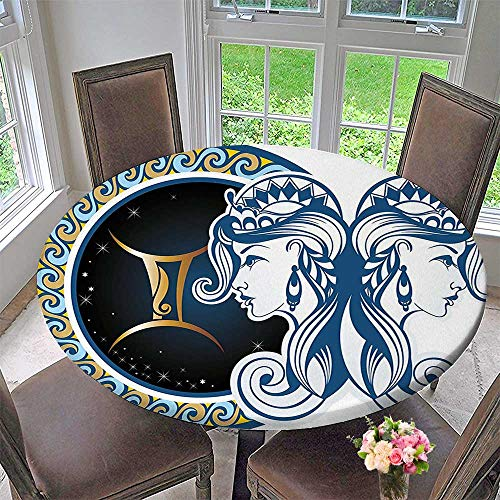 "Premium Tablecloth Gemini Icon Motif with Back to Back Women Future Celestial Information Theme Blue Everyday Use 35.5""-40"" Round (Elastic Edge)"
