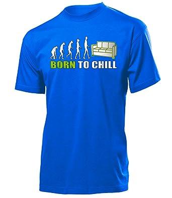 BORN TO CHILL 2578 Herren T-Shirt (H-B-Weiss-Grün) Gr