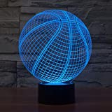 3D Table Lamp Round Basketball Shape Gift Acrylic Night light Furniture Decorative colorful 7 color change household Home Accessories