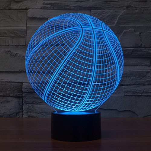 3D Table Lamp Round Basketball Shape Gift Acrylic Night light Furniture Decorative colorful 7 color change household Home Accessories (Basket Ball Gifts)