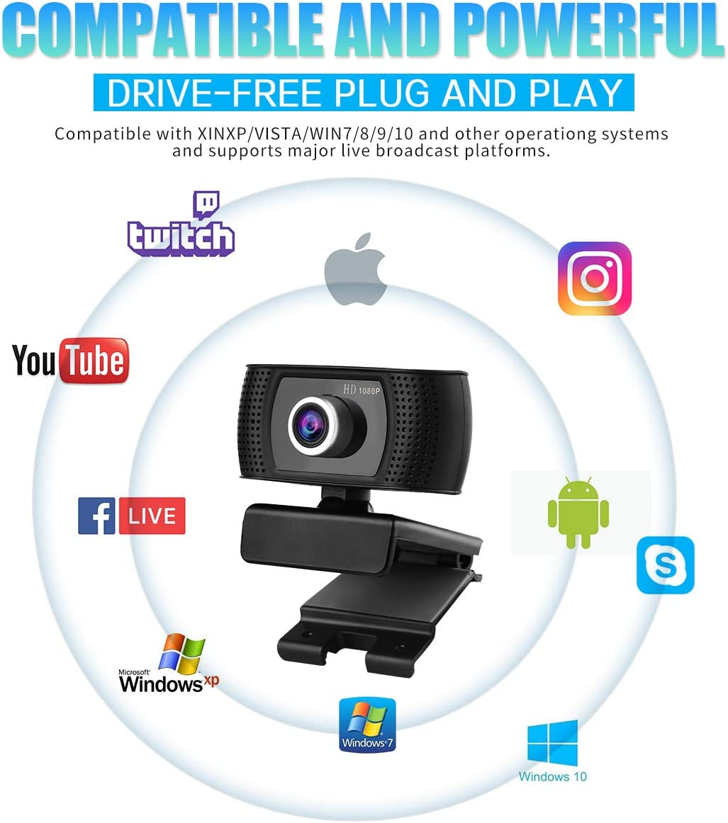 USB HD 1080P Webcam with Noise-canceling Microphone Live Streaming and Conferences PC Laptop Desktop Webcam with Rotating Clip for Video Calls Games