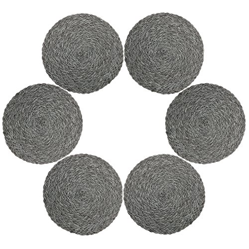 Topotdor Round Placemats Heat-Resistant Stain Resistant Anti-Skid Washable Polyproplene Table Mats Placemats (Set of 6, Braided-Gray) (Placemats For Patio Table Round)