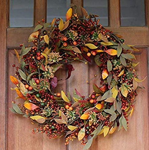 ront Door Wreath 22 inches - Lush Seasonal Foliage and Berries, Approved for Covered Outdoor Use, with Beautiful White Gift Box ()