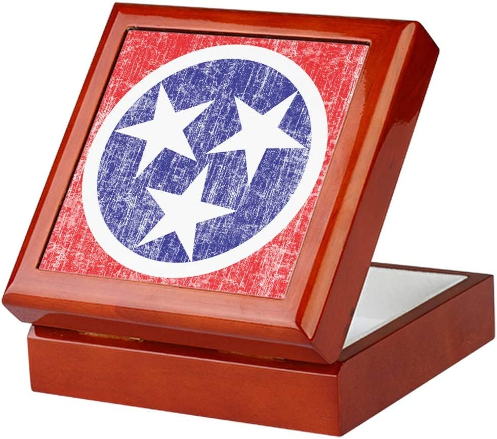 CafePress Faded Tennessee Flag Keepsake Box, Finished Hardwood Jewelry Box, Velvet Lined Memento Box