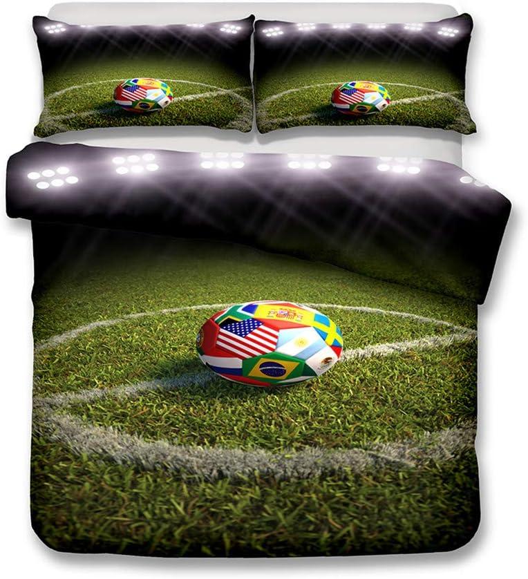 duvet cover and pillowcase LanS 3d World Cup Soccer Stadium duvet cover bedding Set 3 Piece Set bedding A,Single-135x210cm duvet cover + 2 pillowcases Single Double Duvet cover