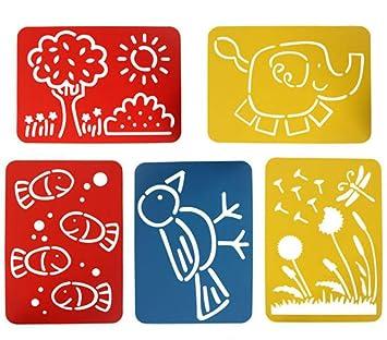 Doitsa: 5 plantillas de dibujo para niños, en PVC; plantillas caladas. Material de pintura para niños: Amazon.es: Bebé