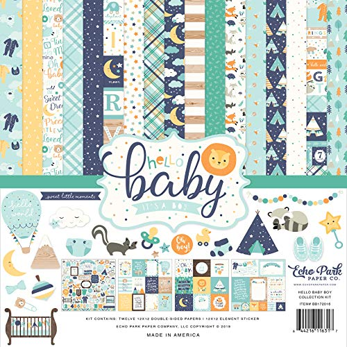Echo Park Paper Company BB172016A Hello Baby Boy Collection Kit Paper Blue, Yellow, Green, Teal -