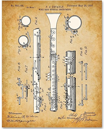 Clarinet Musical Instrument Art- 11x14 Unframed Patent Print - Great Gift for Clarinet Players or Jazz/Blues - Clarinet String Quartets