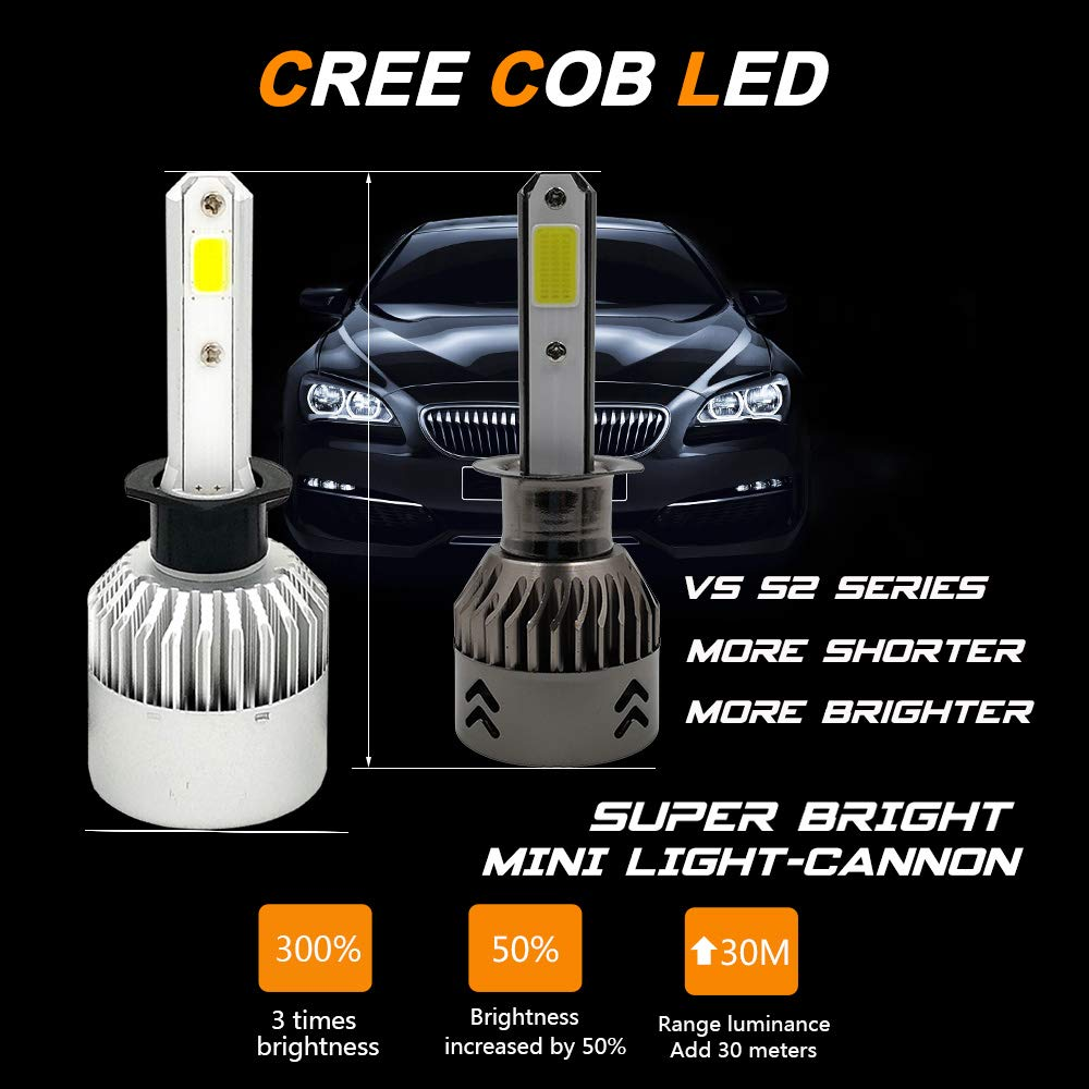 72W 8000LM High Beam//Low Beam//Fog Lights Extremely Bright FANTELI H1 3000K Yellow LED Headlight Bulbs All-in-One Conversion Kit