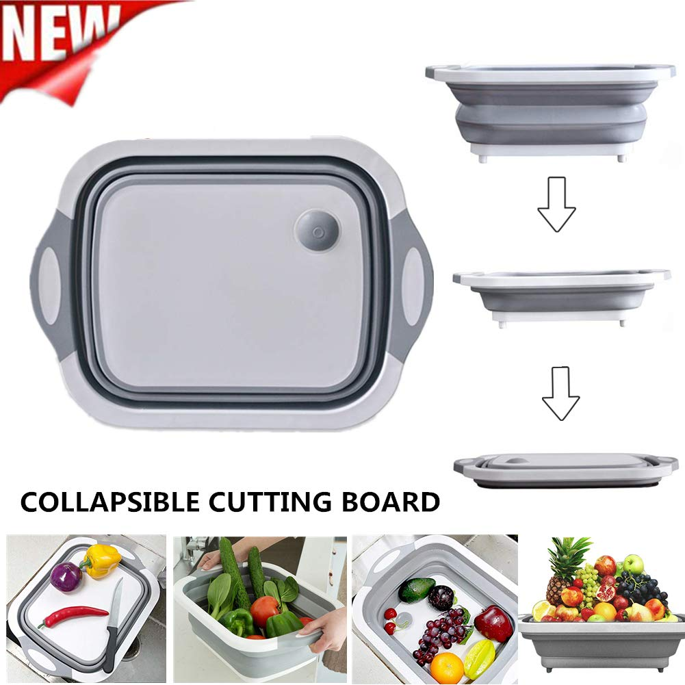 QBABY Multifunction Collapsible Cutting Board Dish Tub,Drain Basket Vegetable Basin,3 in 1 Sink Folding Cutting Board for Kitchen Outdoor Travel Camping by QBABY