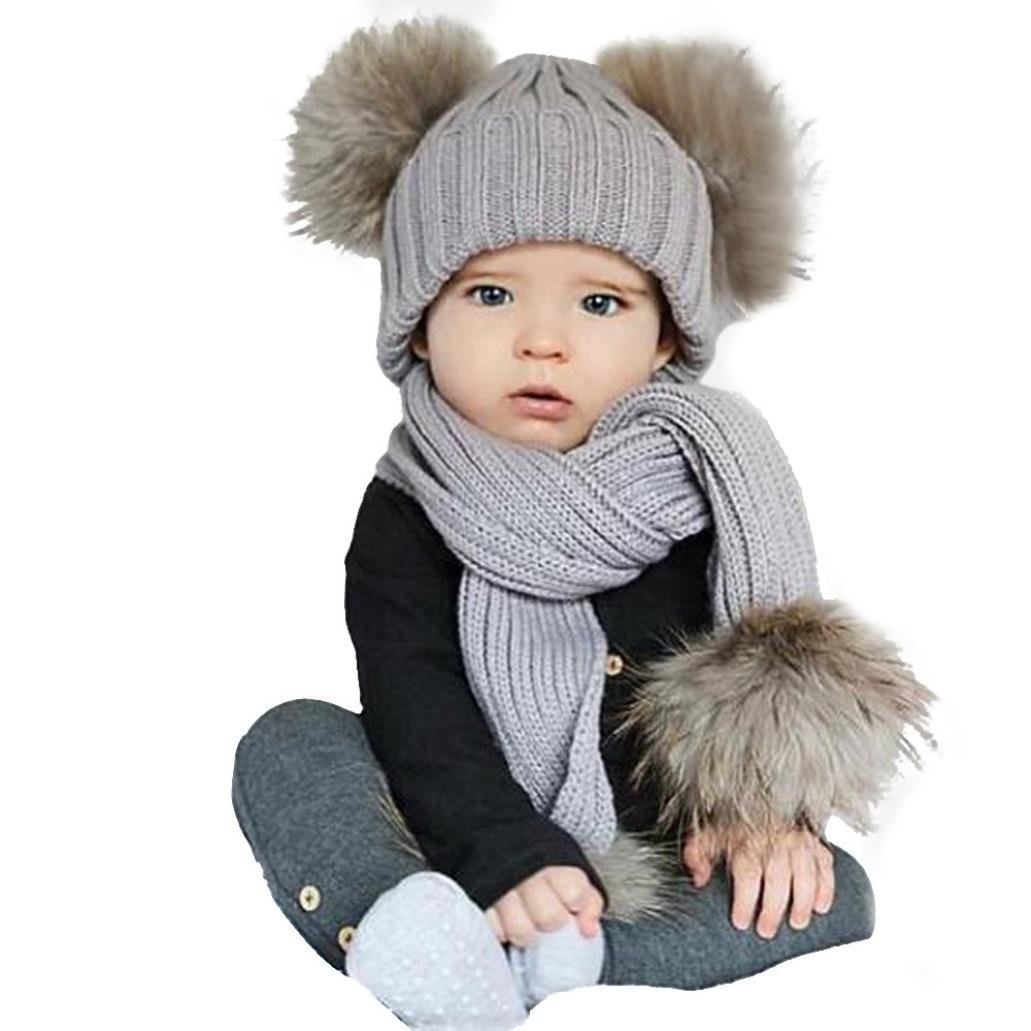Ensemble de Foulard Bonnet pour Bébé, LMMVP Bébé Hiver Écharpe de chapeau Mignon Garder au Chaud Ensemble 0-36 Mois (une balle, Beige)