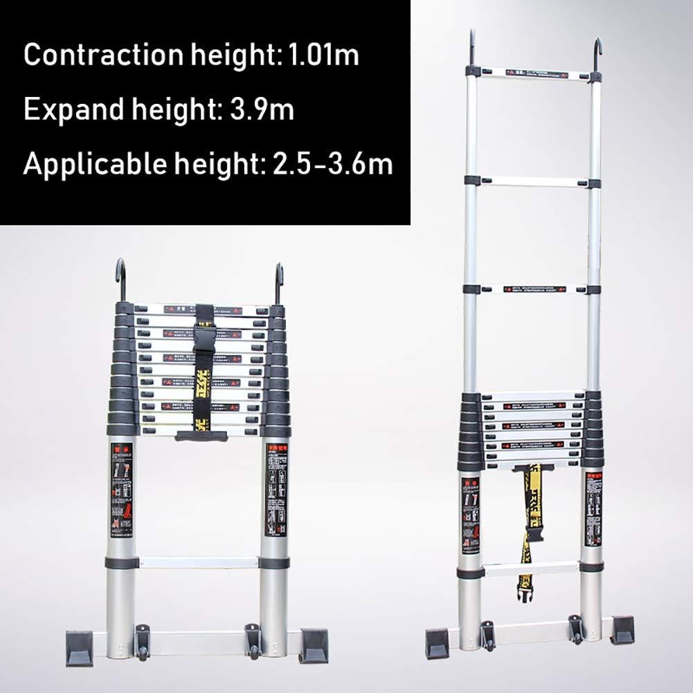 gr/ö/ße : 3.5m//11.5ft Aluminium-ausziehbare Teleskopleiter f/ür Loft Kapazit/ät 330 lbs Mehrzweck-Teleskopleiter mit Haken